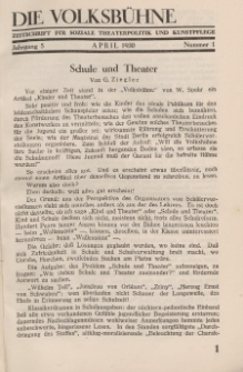 Die Volksbühne : Zeitschrift für soziale Theaterpolitik und Kunstpflege, 5 Jahrgang, April 1930, Nr 1
