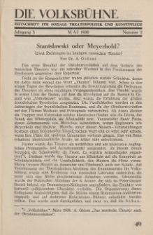 Die Volksbühne : Zeitschrift für soziale Theaterpolitik und Kunstpflege, 5 Jahrgang, Mai 1930, Nr 2