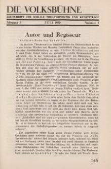 Die Volksbühne : Zeitschrift für soziale Theaterpolitik und Kunstpflege, 5 Jahrgang, Juli 1930, Nr 4