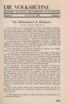 Die Volksbühne : Zeitschrift für soziale Theaterpolitik und Kunstpflege, 5 Jahrgang, August 1930, Nr 5
