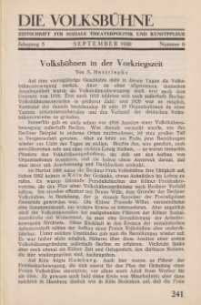 Die Volksbühne : Zeitschrift für soziale Theaterpolitik und Kunstpflege, 5 Jahrgang, September 1930, Nr 6