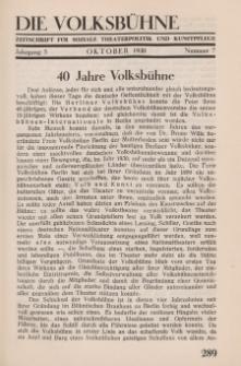 Die Volksbühne : Zeitschrift für soziale Theaterpolitik und Kunstpflege, 5 Jahrgang, Oktober 1930, Nr 7