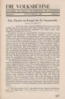 Die Volksbühne : Zeitschrift für soziale Theaterpolitik und Kunstpflege, 5 Jahrgang, November 1930, Nr 8
