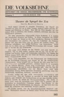 Die Volksbühne : Zeitschrift für soziale Theaterpolitik und Kunstpflege, 5 Jahrgang, Dezember 1930, Nr 9