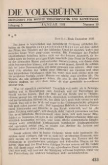 Die Volksbühne : Zeitschrift für soziale Theaterpolitik und Kunstpflege, 5 Jahrgang, Januar 1931, Nr 10