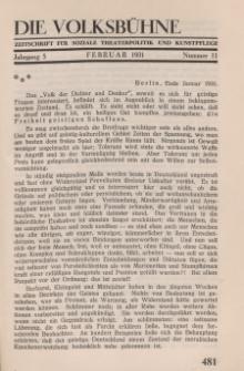 Die Volksbühne : Zeitschrift für soziale Theaterpolitik und Kunstpflege, 5 Jahrgang, Februar 1931, Nr 11