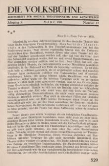Die Volksbühne : Zeitschrift für soziale Theaterpolitik und Kunstpflege, 5 Jahrgang, März 1931, Nr 12