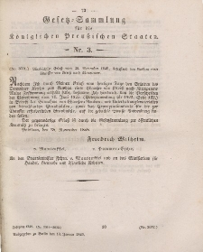 Gesetz-Sammlung für die Königlichen Preussischen Staaten, 13. Januar 1849, nr. 3.