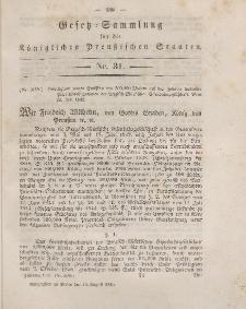 Gesetz-Sammlung für die Königlichen Preussischen Staaten, 15. August 1849, nr. 31.