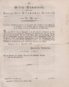 Gesetz-Sammlung für die Königlichen Preussischen Staaten, 20. Oktober 1849, nr. 36.