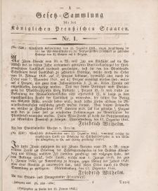 Gesetz-Sammlung für die Königlichen Preussischen Staaten, 13. Januar 1845, nr. 1.