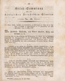Gesetz-Sammlung für die Königlichen Preussischen Staaten, 23. April 1845, nr. 10.