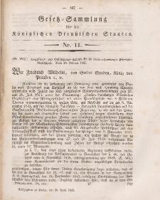 Gesetz-Sammlung für die Königlichen Preussischen Staaten, 28. April 1845, nr. 11.