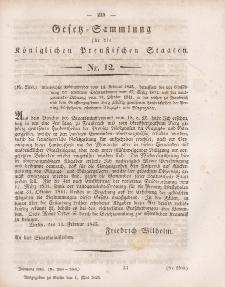 Gesetz-Sammlung für die Königlichen Preussischen Staaten, 1. Mai 1845, nr. 12.