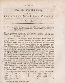 Gesetz-Sammlung für die Königlichen Preussischen Staaten, 6. Mai 1845, nr. 13.