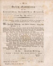 Gesetz-Sammlung für die Königlichen Preussischen Staaten, 30. Mai 1845, nr. 14.