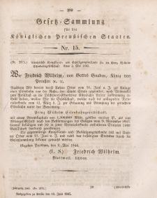 Gesetz-Sammlung für die Königlichen Preussischen Staaten, 10. Juni 1845, nr. 15.
