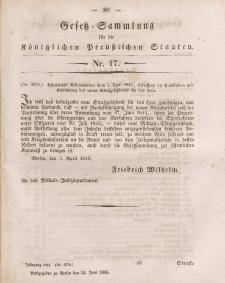 Gesetz-Sammlung für die Königlichen Preussischen Staaten, 24. Juni 1845, nr. 17.
