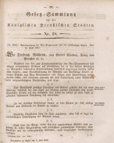Gesetz-Sammlung für die Königlichen Preussischen Staaten, 1. Juli 1845, nr. 18.