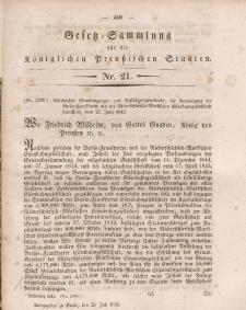Gesetz-Sammlung für die Königlichen Preussischen Staaten, 25. Juli 1845, nr. 21.