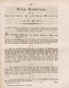 Gesetz-Sammlung für die Königlichen Preussischen Staaten, 29. Juli 1845, nr. 22.