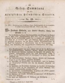 Gesetz-Sammlung für die Königlichen Preussischen Staaten, 2. August 1845, nr. 23.