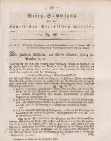 Gesetz-Sammlung für die Königlichen Preussischen Staaten, 22. September 1845, nr. 28.