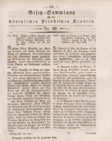 Gesetz-Sammlung für die Königlichen Preussischen Staaten, 25. September 1845, nr. 29.