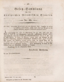 Gesetz-Sammlung für die Königlichen Preussischen Staaten, 10. November 1845, nr. 35.