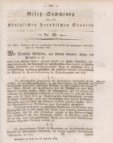 Gesetz-Sammlung für die Königlichen Preussischen Staaten, 12. Dezember 1845, nr. 39.