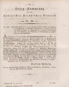 Gesetz-Sammlung für die Königlichen Preussischen Staaten, 15. Dezember 1845, nr. 40.