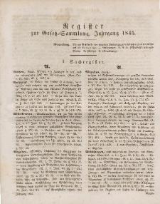 Gesetz-Sammlung für die Königlichen Preussischen Staaten (Register), 1845