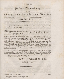 Gesetz-Sammlung für die Königlichen Preussischen Staaten, 10. April 1846, nr. 8.