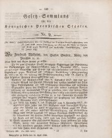 Gesetz-Sammlung für die Königlichen Preussischen Staaten, 18. April 1846, nr. 9.