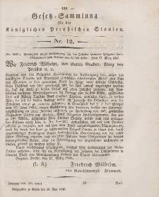 Gesetz-Sammlung für die Königlichen Preussischen Staaten, 20. Mai 1846, nr. 12.