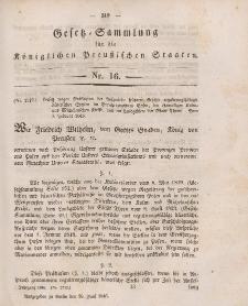 Gesetz-Sammlung für die Königlichen Preussischen Staaten, 26. Juni 1846, nr. 16.