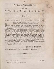 Gesetz-Sammlung für die Königlichen Preussischen Staaten, 21. Januar 1847, nr. 1.
