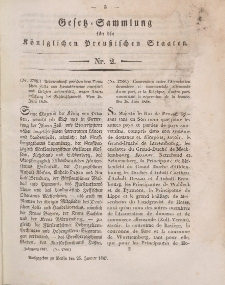 Gesetz-Sammlung für die Königlichen Preussischen Staaten, 25. Januar 1847, nr. 2.