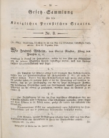 Gesetz-Sammlung für die Königlichen Preussischen Staaten, 26. Januar 1847, nr. 3.