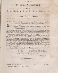 Gesetz-Sammlung für die Königlichen Preussischen Staaten, 8. Februar 1847, nr. 5.