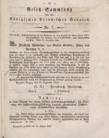 Gesetz-Sammlung für die Königlichen Preussischen Staaten, 15. Februar 1847, nr. 7.