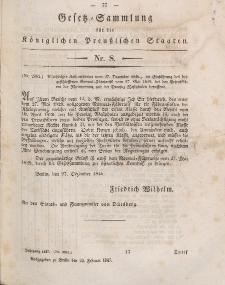 Gesetz-Sammlung für die Königlichen Preussischen Staaten, 24. Februar 1847, nr. 8.