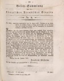 Gesetz-Sammlung für die Königlichen Preussischen Staaten, 22. März 1847, nr. 9.