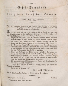 Gesetz-Sammlung für die Königlichen Preussischen Staaten, 2. April 1847, nr. 10.