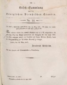 Gesetz-Sammlung für die Königlichen Preussischen Staaten, 12. April 1847, nr. 14.