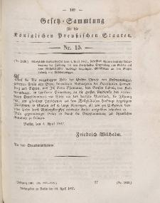 Gesetz-Sammlung für die Königlichen Preussischen Staaten, 10. April 1847, nr. 15.