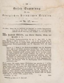 Gesetz-Sammlung für die Königlichen Preussischen Staaten, 17. April 1847, nr. 17.