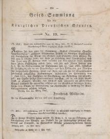 Gesetz-Sammlung für die Königlichen Preussischen Staaten, 3. Mai 1847, nr. 19.