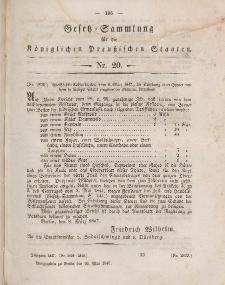 Gesetz-Sammlung für die Königlichen Preussischen Staaten, 22. Mai 1847, nr. 20.