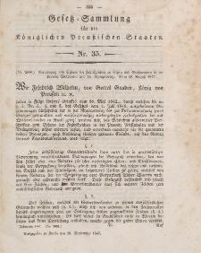 Gesetz-Sammlung für die Königlichen Preussischen Staaten, 18. September 1847, nr. 35.